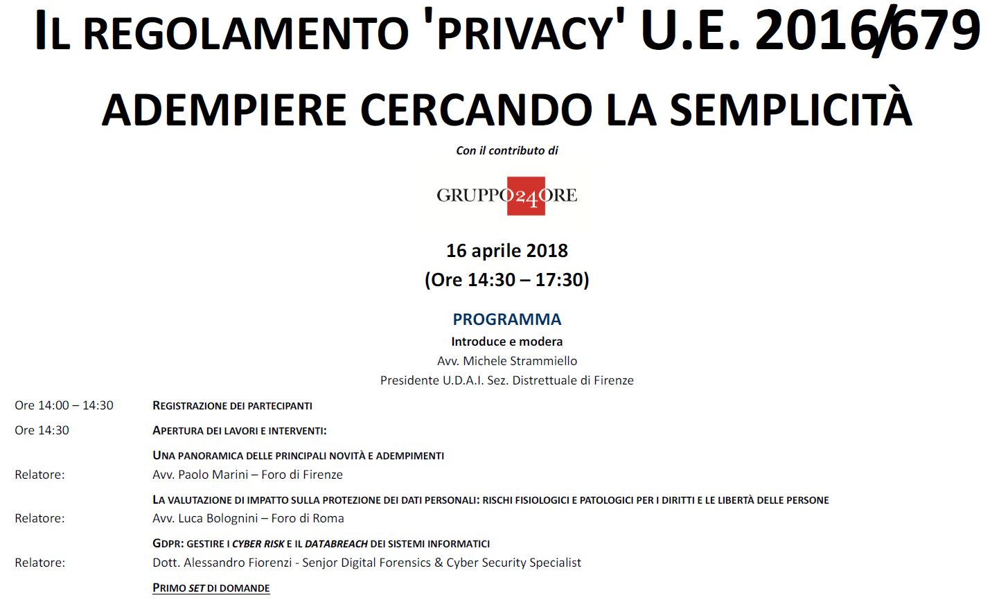 Locandina GDPR ordine Avvocati Firenze Cyber Risk data breach